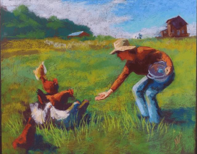 "Marie Marfia, Mary Feeding the Chickens, soft pastel on textured gator board, 16x20"""