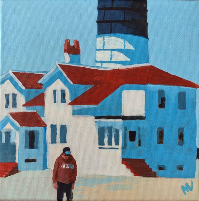 """Marie Marfia, Been There, Done That, Bought the Sweatshirt, acrylic on canvas, 6x6""""."""