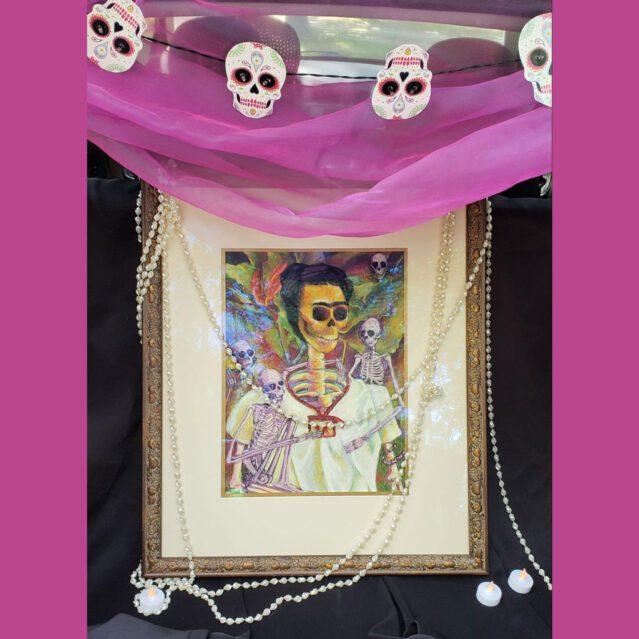 Frida Skelly with Monkeys ofrenda display for Duncan Woods Park trunk show