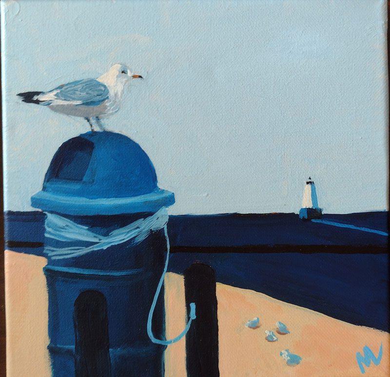 Marie Marfia, Trash Pickin', acrylic on canvas, 8 in x 8 in